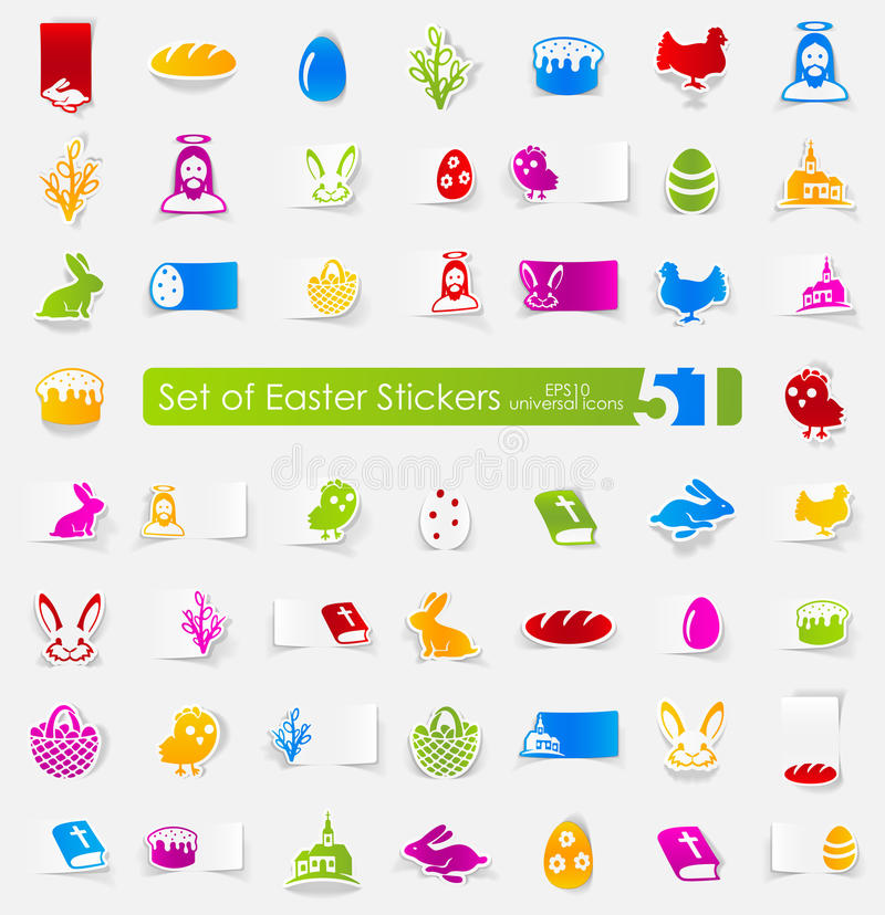Reeks Pasen stickers vector illustratie
