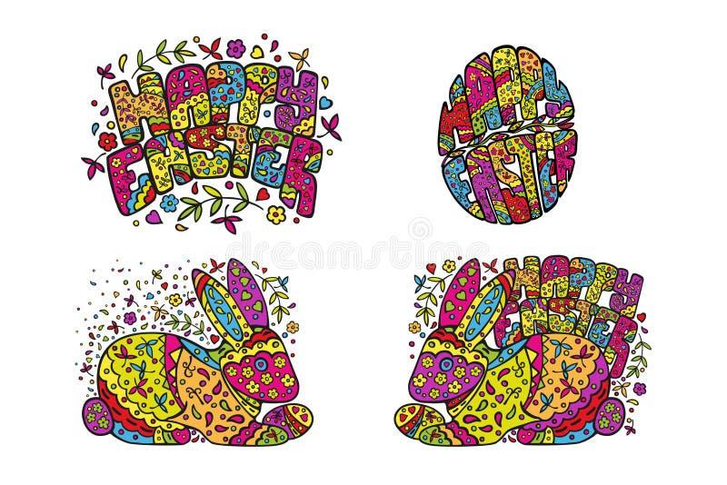 Reeks Pasen stickers Konijn, ei, met de hand gemaakte gelukwens Vectordietekening op witte achtergrond wordt geïsoleerd vector illustratie