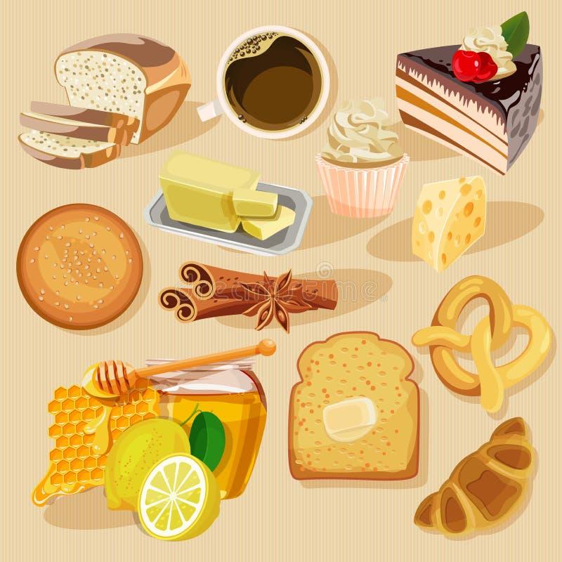 Reeks pastei en bloemproducten van bakkerij of patisserie stock illustratie