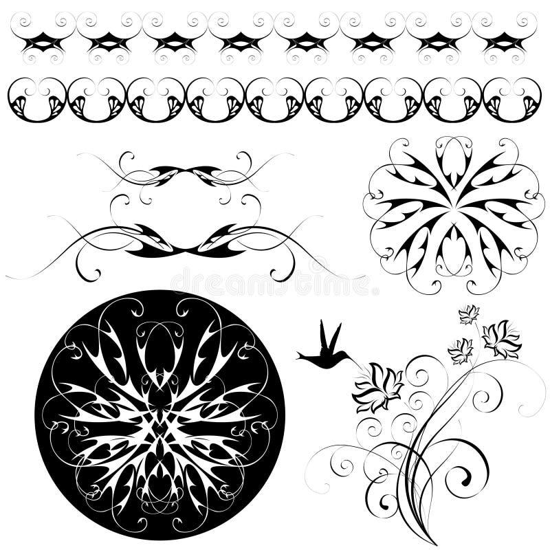 Reeks patronen en ornamenten royalty-vrije illustratie