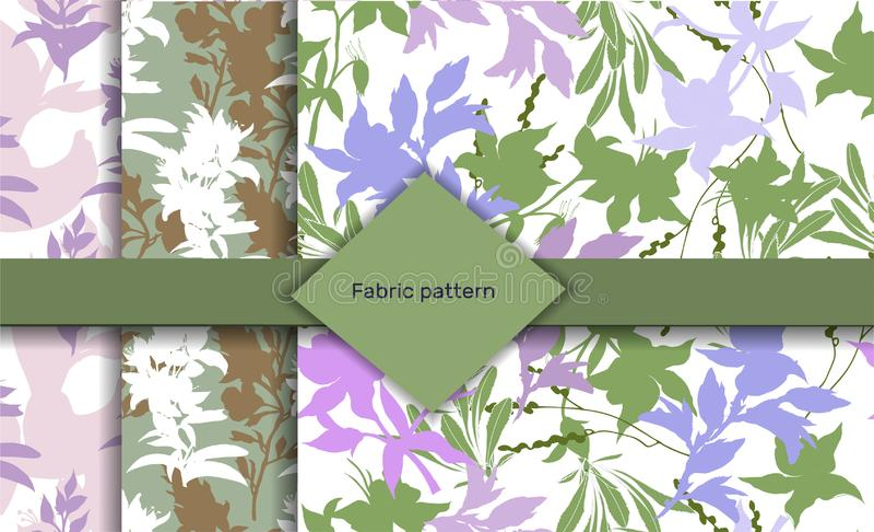 Reeks patronen met bloemenpatroon Geschilderde bloemen in heldere kleuren Een reeks texturen op een witte achtergrond voor stoffe royalty-vrije illustratie