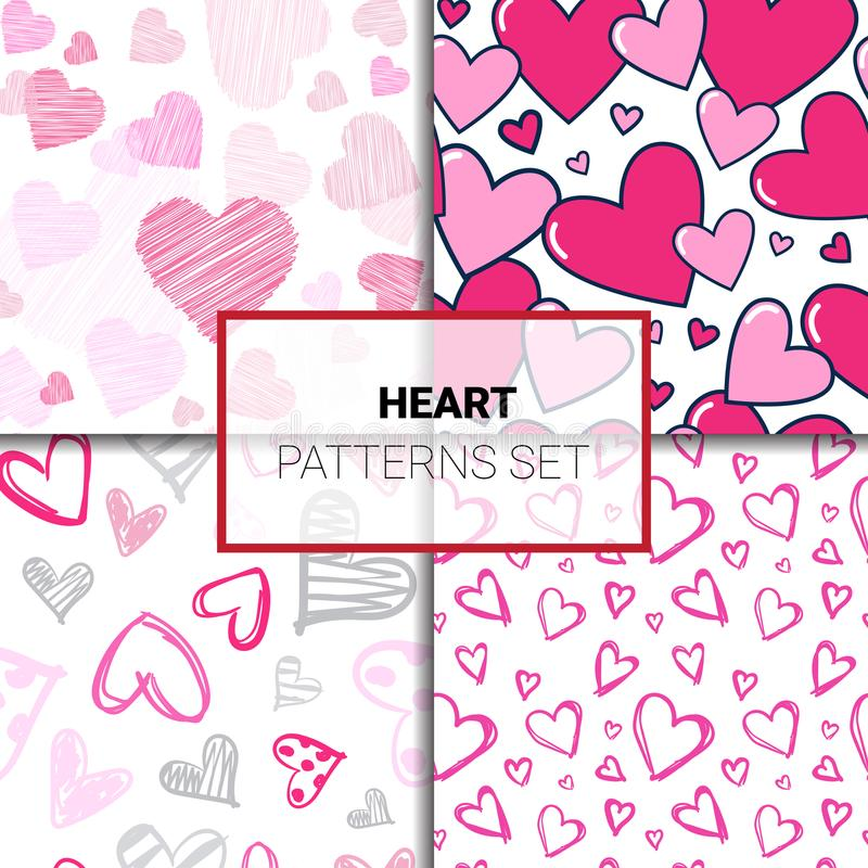 Reeks Patronen met de Kleurrijke Achtergrond van de de Valentijnskaartendag van de Hartenkrabbel Naadloze vector illustratie