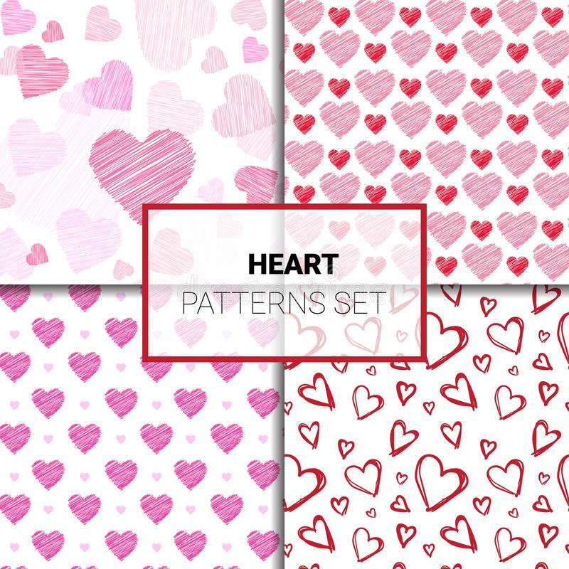 Reeks Patronen met Kleurrijke de Dagachtergrond van Harten Naadloze Valentijnskaarten vector illustratie