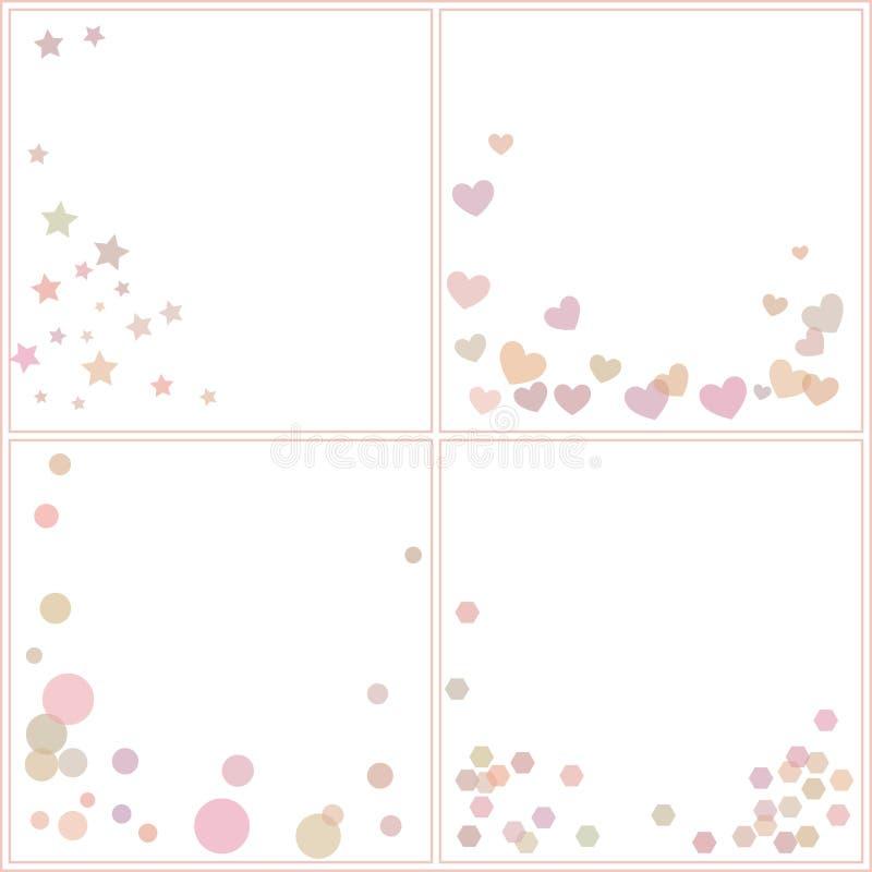 Reeks patronen met kleurrijke geometrische vormen stock illustratie