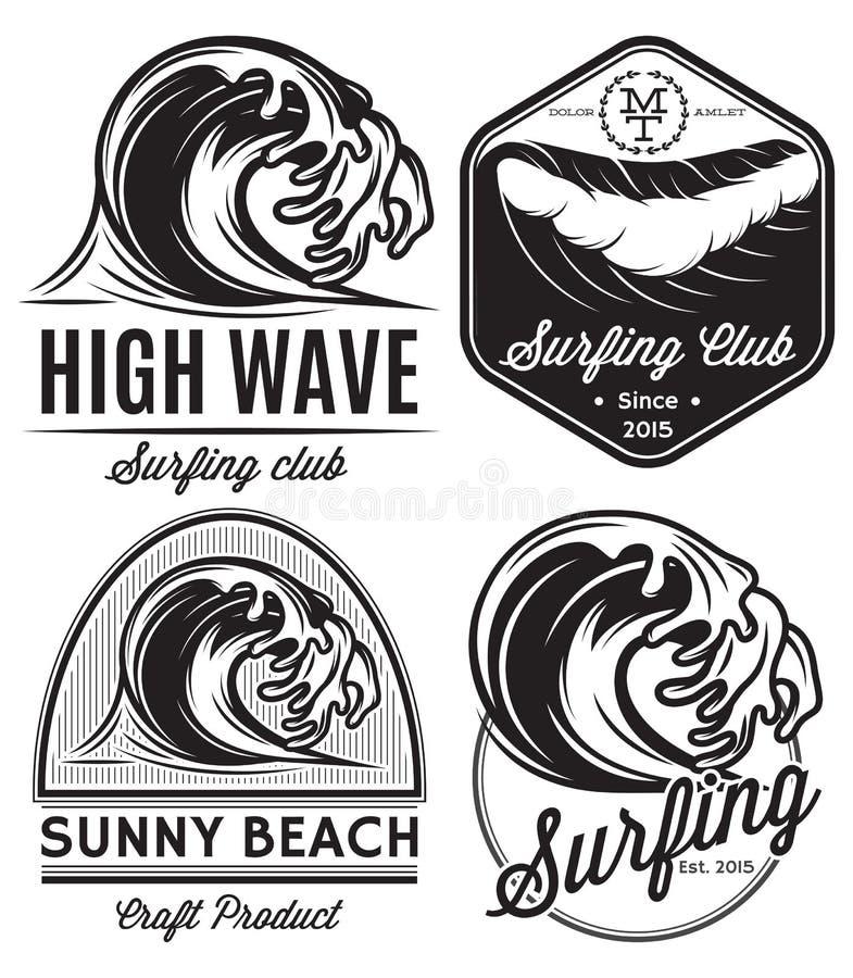 Reeks patronen voor ontwerpemblemen op het thema van water, het surfen, oceaan, overzees royalty-vrije illustratie