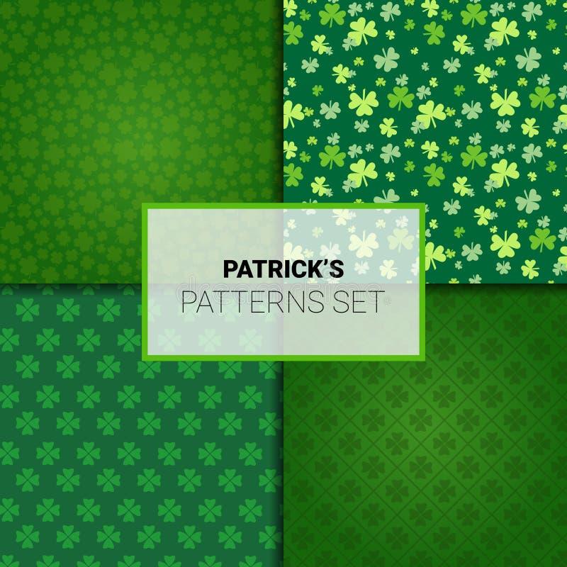 Reeks Patronen voor van de de Dagvakantie van Heilige Patricks de Naadloze Achtergronden met Klaverbladeren vector illustratie