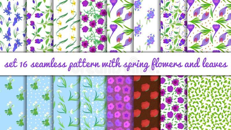 Reeks 16 patroon met de lentebloemen op witte achtergrond stock illustratie