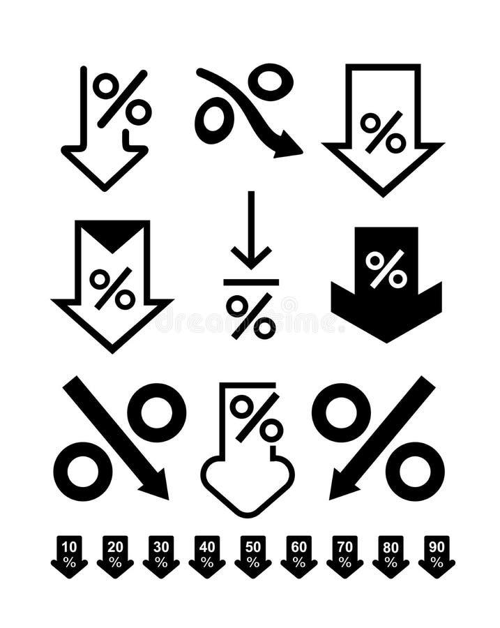 Reeks Percenten onderaan lijnpictogram Het concept van het bankwezen Percentage, pijl, vermindering Kan voor onderwerpen zoals in vector illustratie