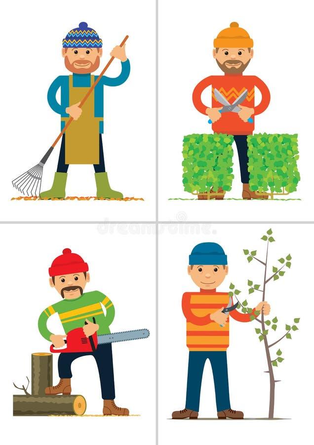 Reeks personages die in tuin of park werken vector illustratie