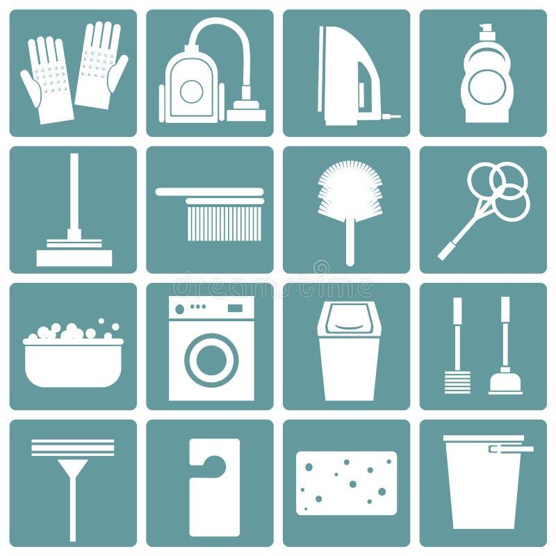 Reeks pictogrammen die, vlak ontwerp schoonmaken, vector illustratie