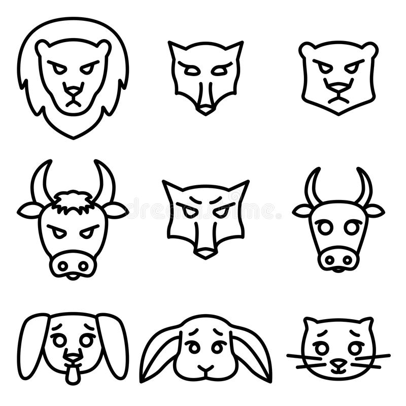 Reeks pictogrammen of emblemen met de Vectorillustratie van binnenlandse, wilde en landbouwbedrijfdieren in lineaire stijl royalty-vrije illustratie