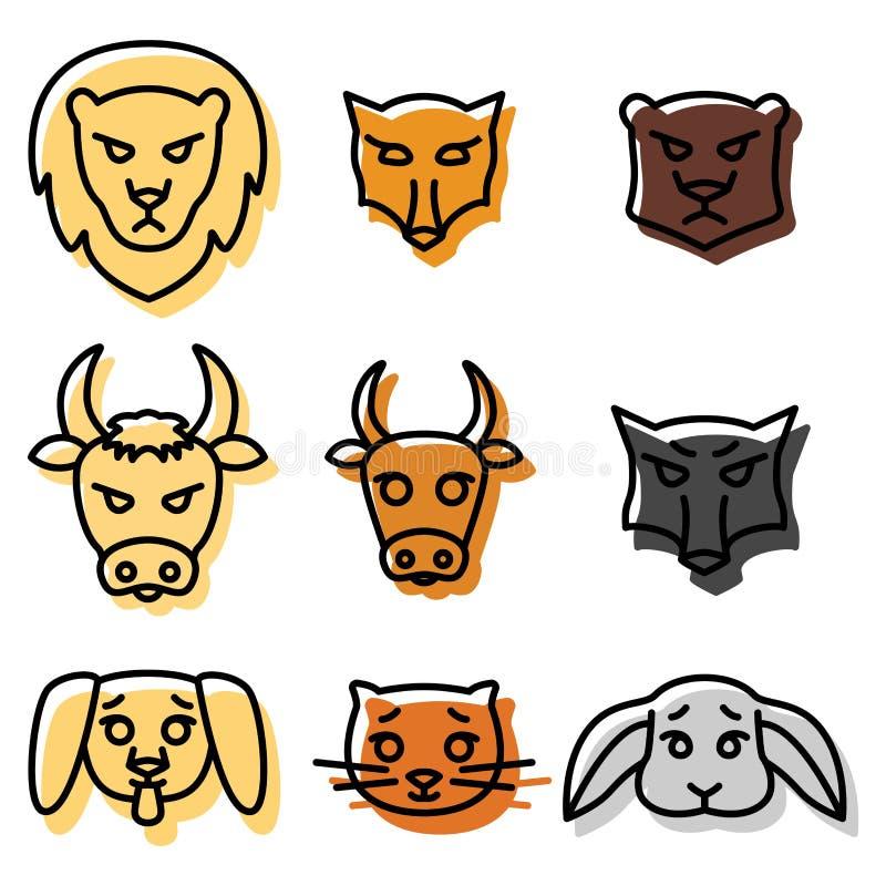 Reeks pictogrammen of emblemen met de Vectorillustratie van binnenlandse, wilde en landbouwbedrijfdieren in lineaire stijl vector illustratie