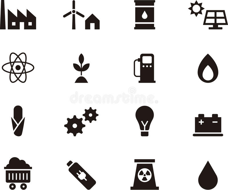 Reeks pictogrammen met betrekking tot energie royalty-vrije illustratie