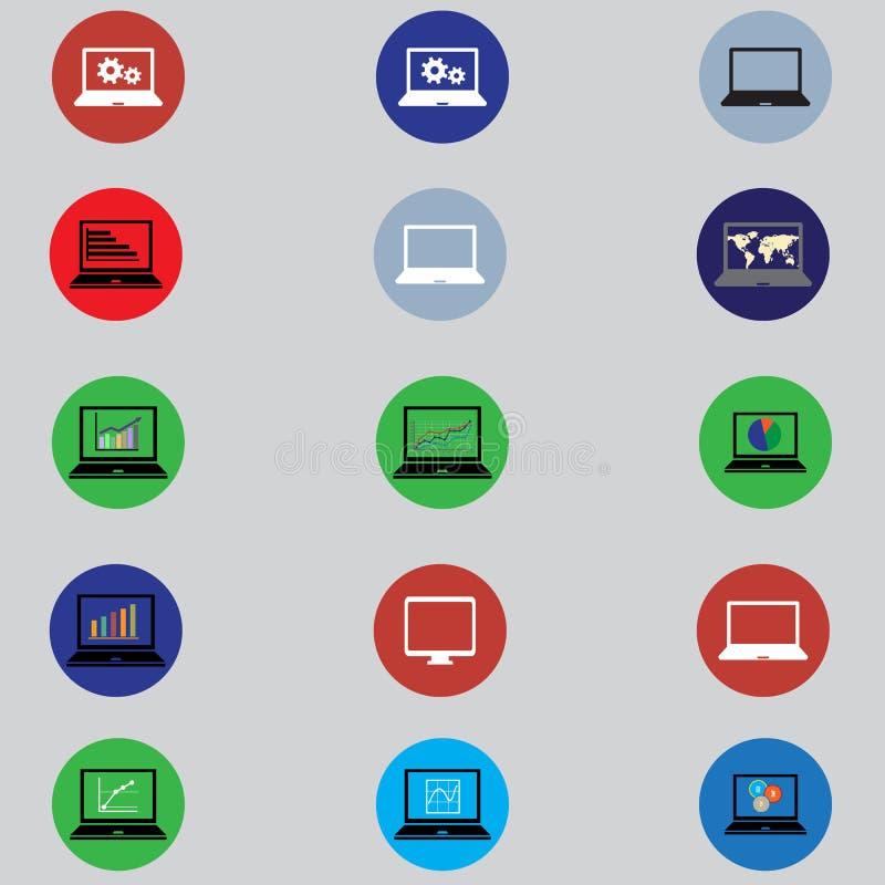 Reeks pictogrammen met computers in vlak ontwerp stock illustratie