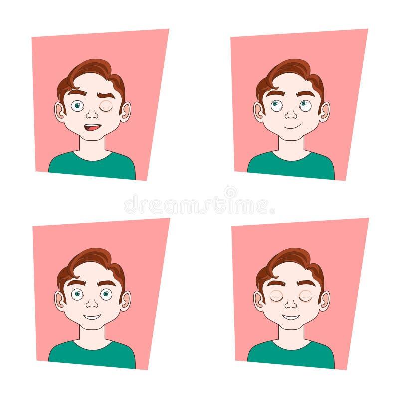 Reeks Pictogrammen met de Mannelijke Verschillende Gezichten van de Emoties Jonge Mens met Emotionele Uitdrukkingeninzameling royalty-vrije illustratie