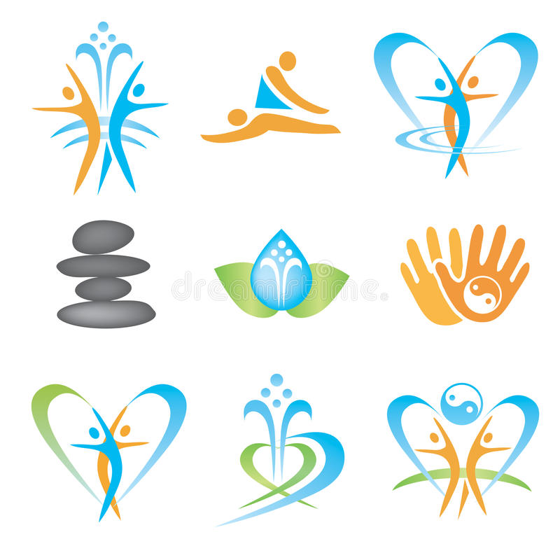 Spa_massage_health_icons royalty-vrije illustratie