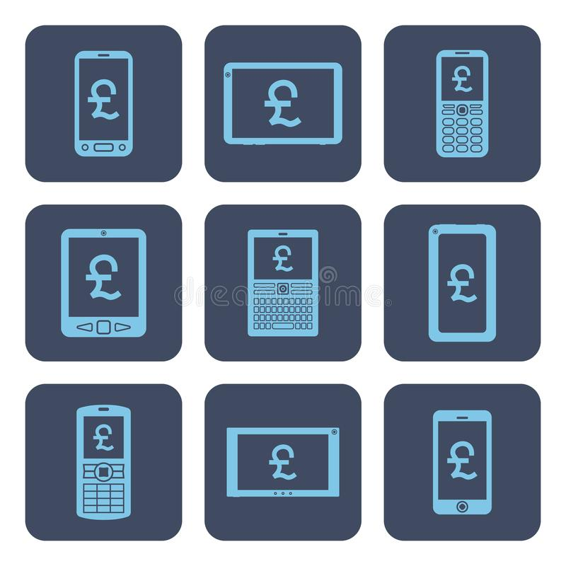 Reeks pictogrammen - mobiele apparaten met pondsymbolen op de schermen stock illustratie