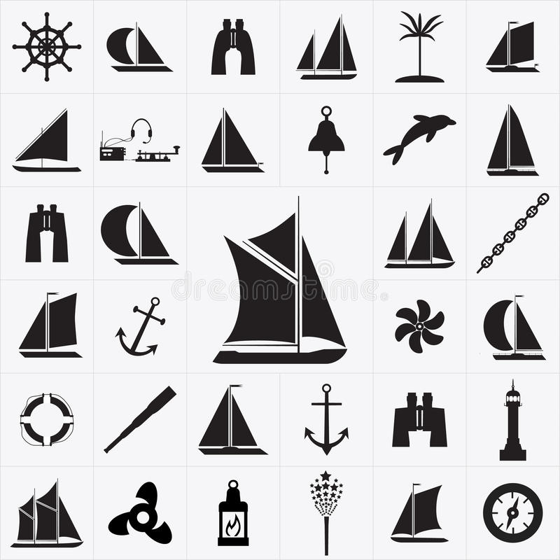 Reeks pictogrammen op het thema van reis door overzees stock illustratie