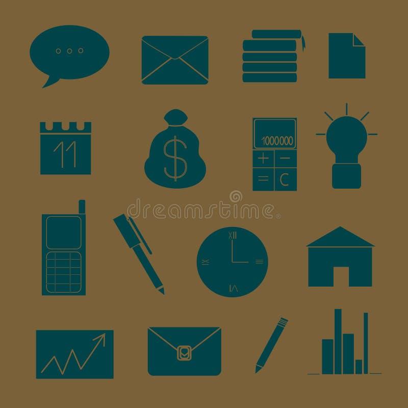 Reeks pictogrammen op het thema van zaken en het werk royalty-vrije illustratie