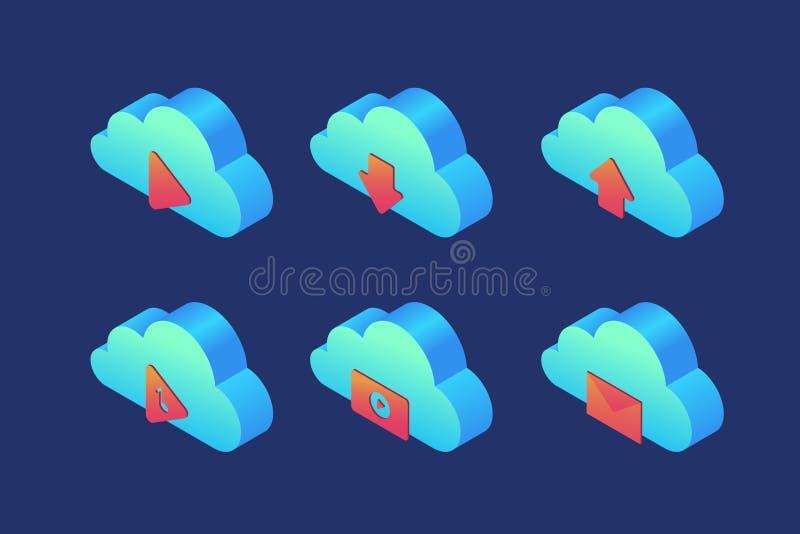 Reeks pictogrammen op onderwerp van wolkenopslag: speler, download, download, audio, video en post royalty-vrije illustratie