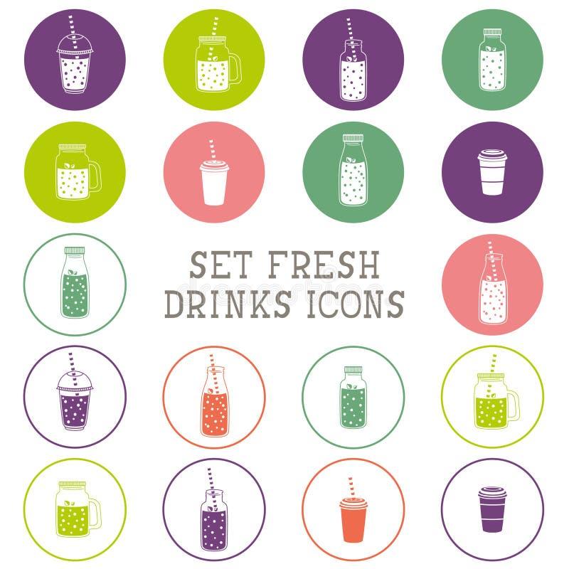 Reeks pictogrammen - smoothie, koffie om te gaan, frappe, sap, cocktail, limonade, metselaarkruik, andere verse dranken, fles vector illustratie