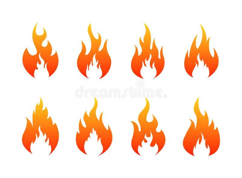 Reeks pictogrammen van Brandvlammen Brandsilhouet Vector illustratie vector illustratie