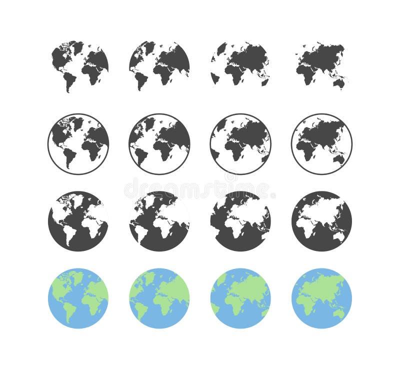 Reeks pictogrammen van de aardebol in vlak en lineair ontwerp op een witte achtergrond royalty-vrije illustratie