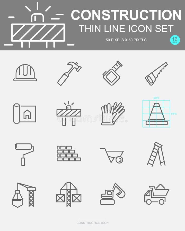 Reeks Pictogrammen van de Bouw Vectorlijn Omvat kraan, helm, vrachtwagen, kegel en meer Pixel 50 x 50 vector illustratie