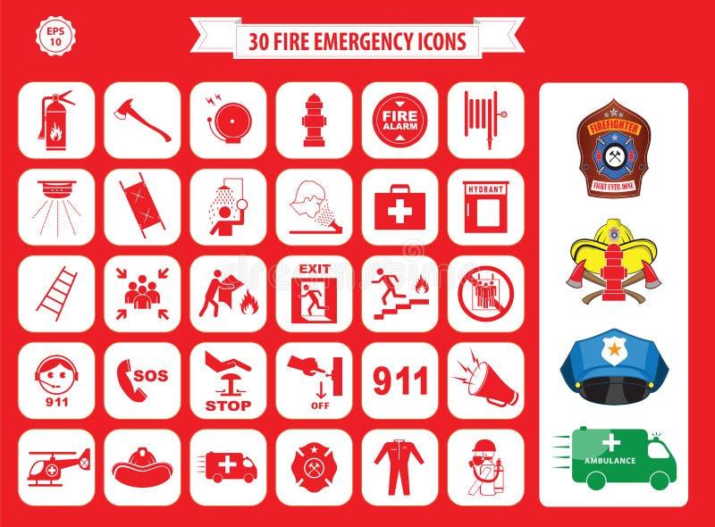 Reeks pictogrammen van de brandnoodsituatie royalty-vrije illustratie