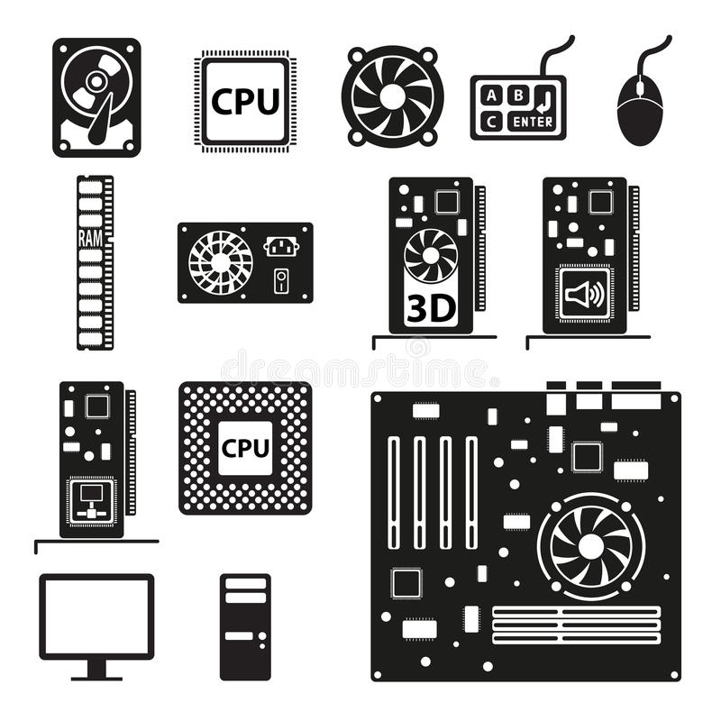 Reeks pictogrammen van de computerhardware vector illustratie