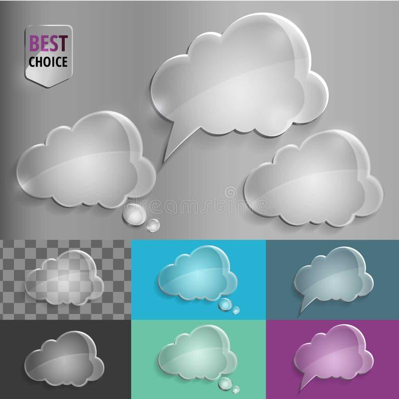 Reeks pictogrammen van de de bellenwolk van de glastoespraak met schaduw op gradiëntachtergrond Vectorillustratie EPS 10 voor Web stock fotografie