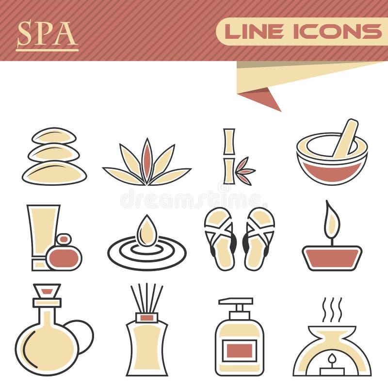 Reeks pictogrammen van de kuuroord dunne lijn royalty-vrije illustratie