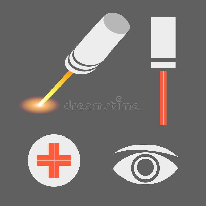 Reeks pictogrammen van de lasergeneeskunde royalty-vrije illustratie