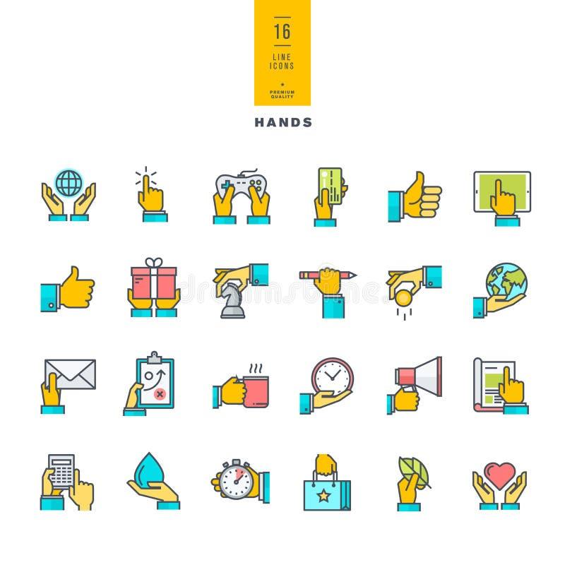 Reeks pictogrammen van de lijn moderne kleur stock illustratie