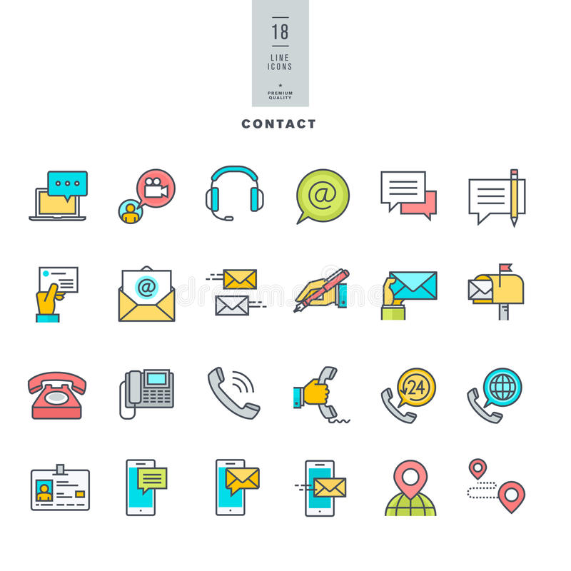 Reeks pictogrammen van de lijn moderne kleur voor contact, mededeling, media stock illustratie