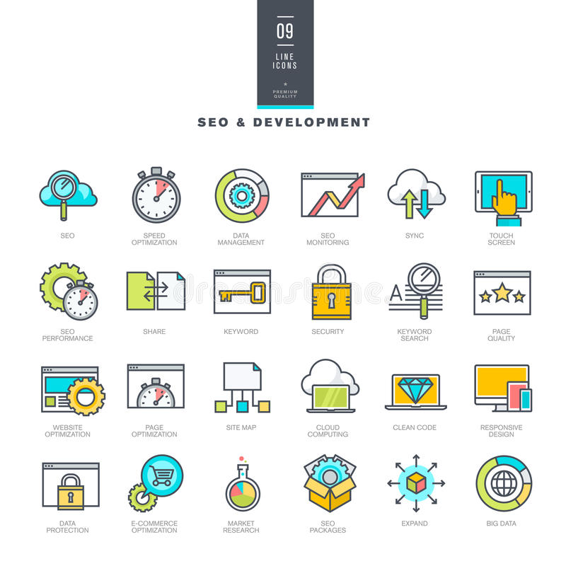 Reeks pictogrammen van de lijn moderne kleur voor de ontwikkeling van SEO en van de website royalty-vrije illustratie