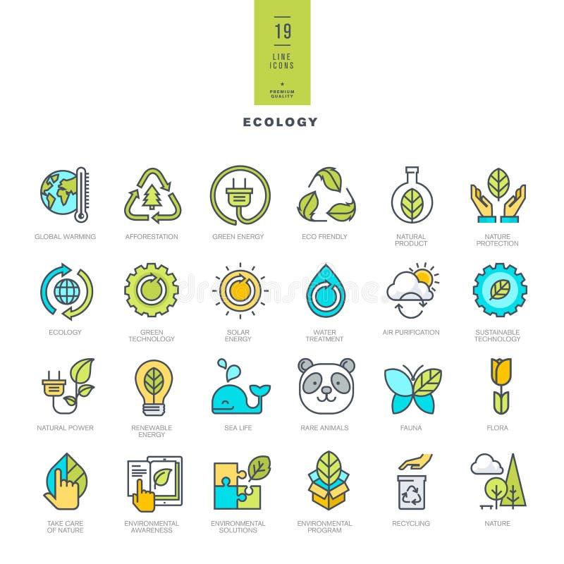 Reeks pictogrammen van de lijn moderne kleur voor ecologie royalty-vrije illustratie