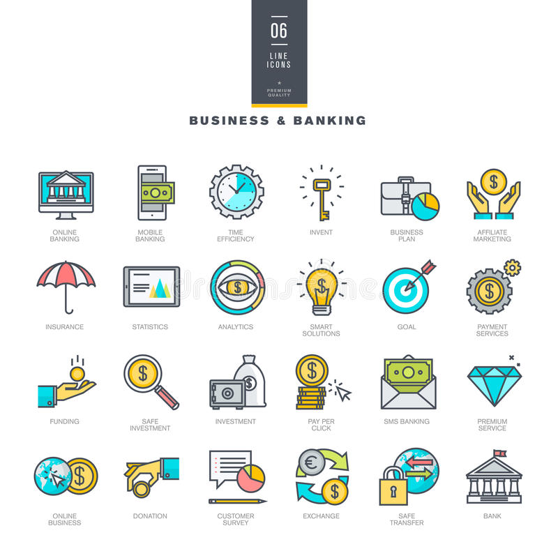 Reeks pictogrammen van de lijn moderne kleur voor zaken en bankwezen royalty-vrije illustratie