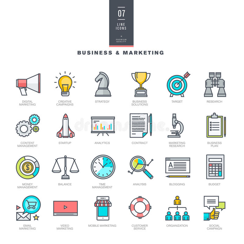 Reeks pictogrammen van de lijn moderne kleur voor zaken en marketing royalty-vrije illustratie