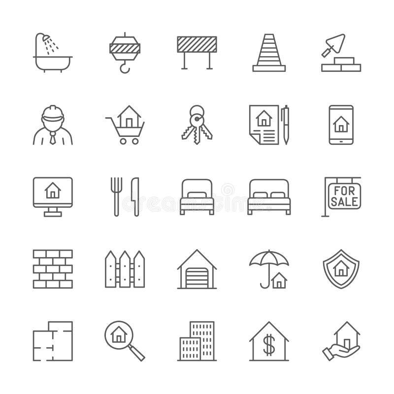 Reeks pictogrammen van de onroerende goederenlijn Badkamers, Industriële Kraan, Wegbarrière en meer royalty-vrije illustratie