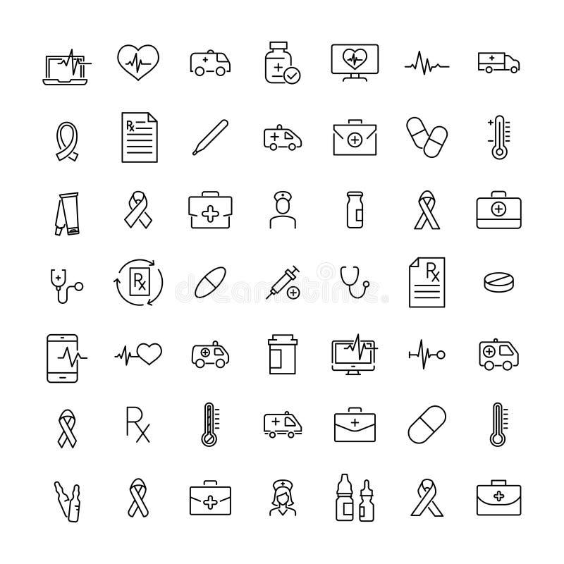 Reeks pictogrammen van de premiegezondheid in lijnstijl stock illustratie