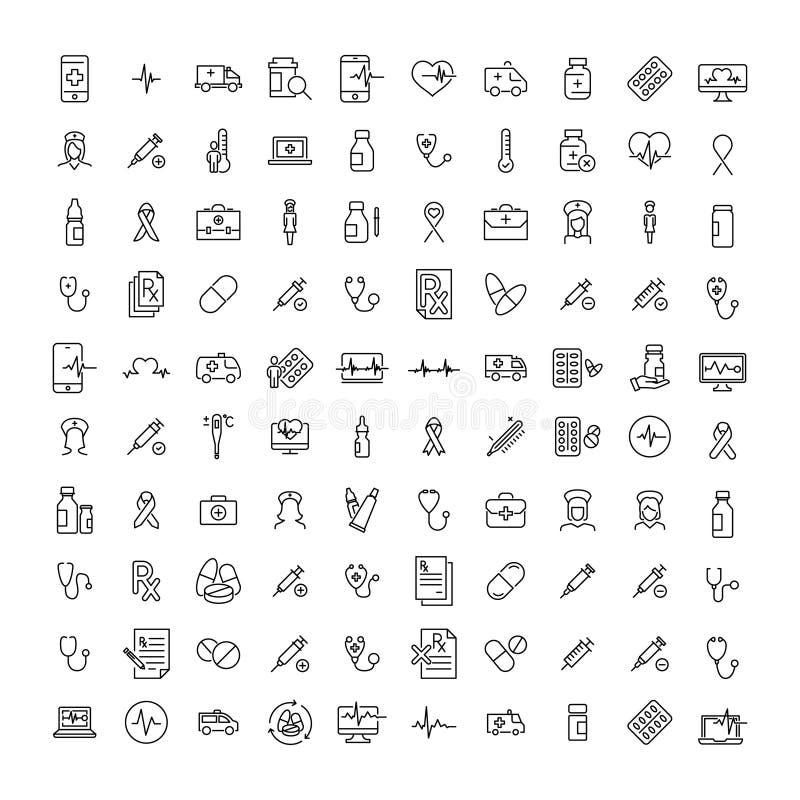 Reeks pictogrammen van de premiegezondheid in lijnstijl royalty-vrije illustratie
