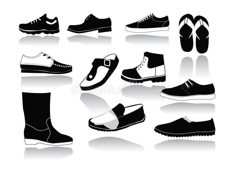 Reeks pictogrammen van de schoenen van mensen stock illustratie