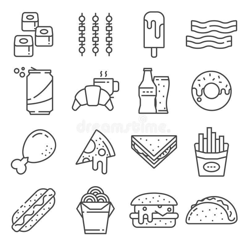 Reeks Pictogrammen van de Snel Voedsel Vectorlijn Bevat dergelijke Pictogrammen zoals Pizza, Taco's stock foto's