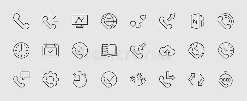 Reeks pictogrammen van de telefoon vectorlijn Het bevat de symbolen van inkomende, uitgaande, gemiste vraag, globale vraag en maa vector illustratie