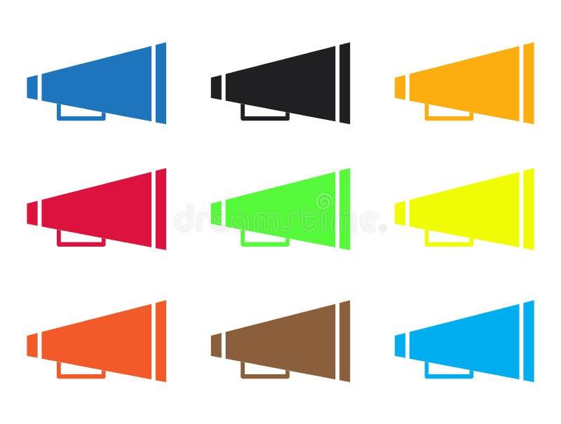 Reeks pictogrammen van de toejuichingmegafoon op witte achtergrond het pictogram van de toejuichingmegafoon voor uw websiteontwer vector illustratie