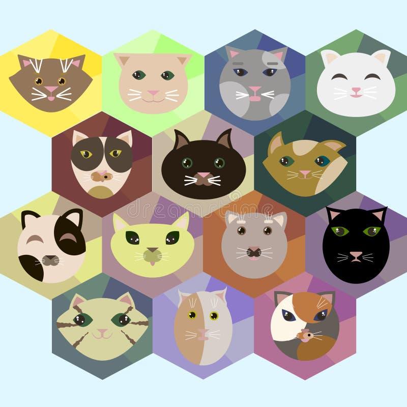 Reeks pictogrammen van de veelhoek vlakke stijl met verschillende katten royalty-vrije illustratie