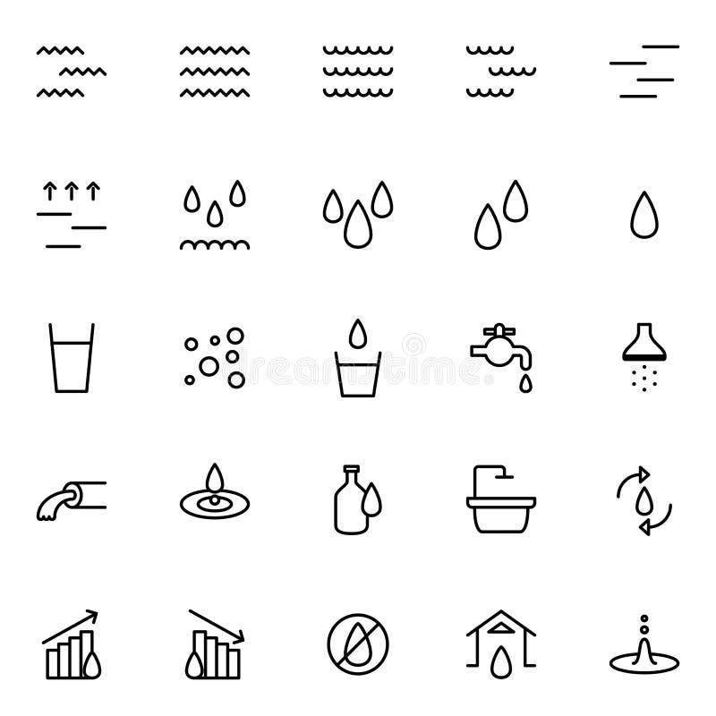 Reeks pictogrammen van de waterlijn op witte achtergrond, voor om het even welke gelegenheid stock illustratie