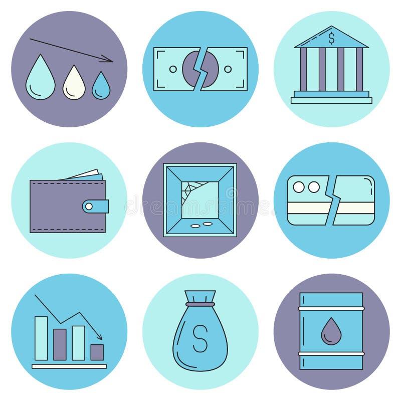 Reeks pictogrammen van economiecrysis vector illustratie