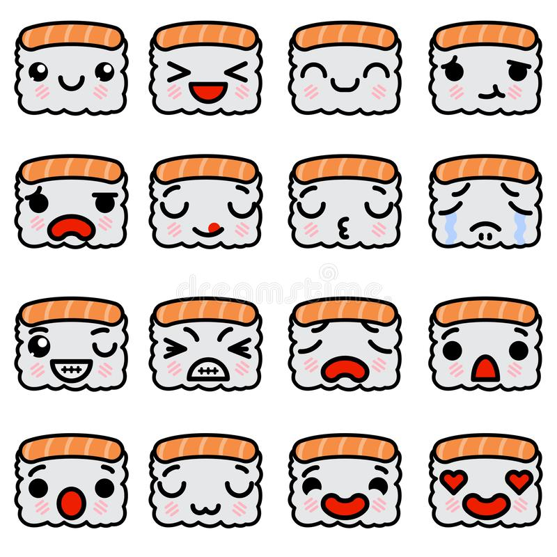 Reeks pictogrammen van emojisushi met verschillende emoties Vectorillustratie royalty-vrije illustratie